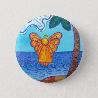 California Beach Angel Pinback Button