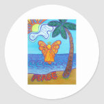 California Beach Angel Round Stickers