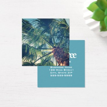 Beach Themed California Beach Palm Fronds Square Business Card