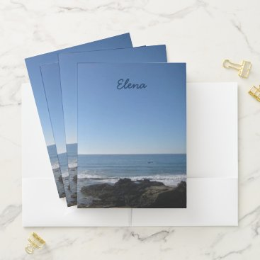 California Beach Personalize Pocket Folder