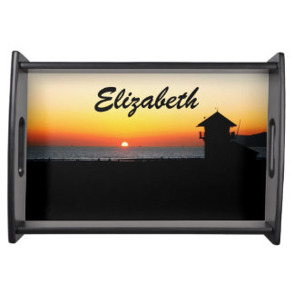 California Beach Sunset with a Name Food Tray