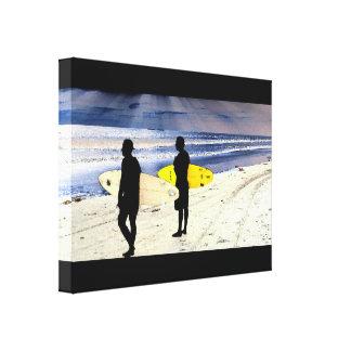 California Beach Surfer Surfing Ocean Waves Sea Canvas Print