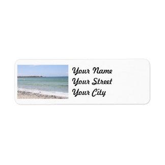 California Beach - Turquoise Pacific Ocean Waves Label