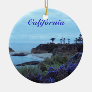 California Beach View Double-Sided Ceramic Round Christmas Ornament