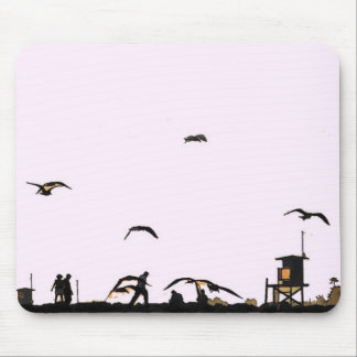 California Beach Walking Ocean Coast Seagull Birds Mouse Pad