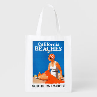 California Beaches Promotional Poster Reusable Grocery Bags