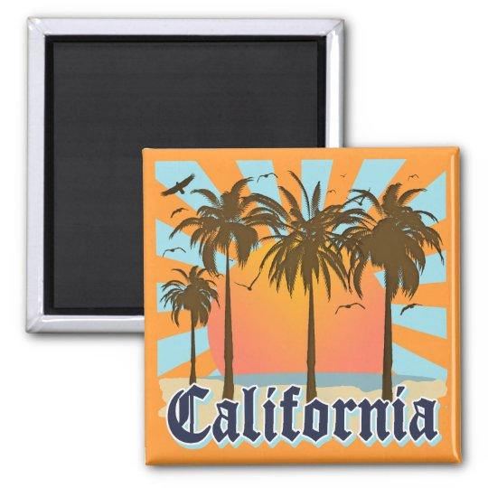 California Beaches Sunset 2 Inch Square Magnet