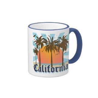 California Beaches Sunset Ringer Coffee Mug