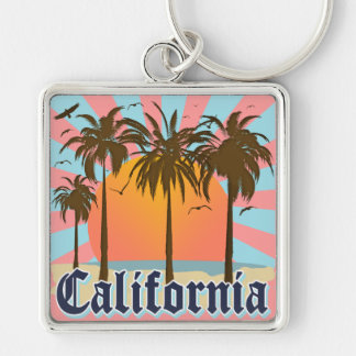 California Beaches Sunset Silver-Colored Square Keychain