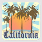 California Beaches Sunset Square Sticker