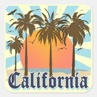 California Beaches Sunset Square Sticker