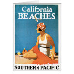 California Beaches Vintage Travel Poster Greeting Cards