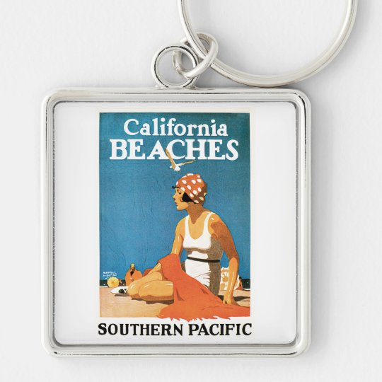 California Beaches Vintage Travel Poster Keychain