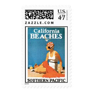 California Beaches Vintage Travel Poster Postage Stamp