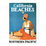 California Beaches Vintage Travel Poster Postcard