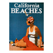 California Beaches Vintage Travel Posters
