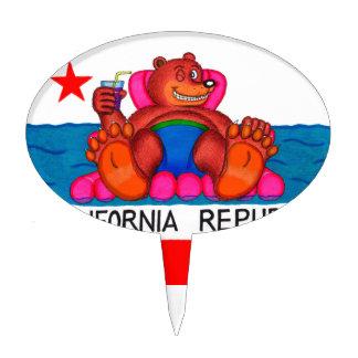 California Bear Feet Flag Cake Topper