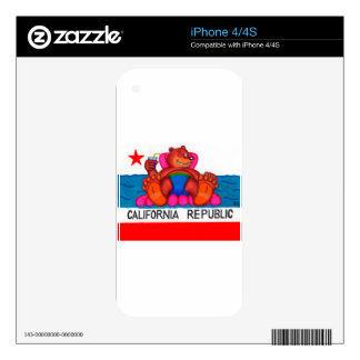 California Bear Feet Flag iPhone 4 Decal