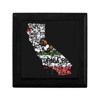 California Bear flag map USA painting Jewelry Box