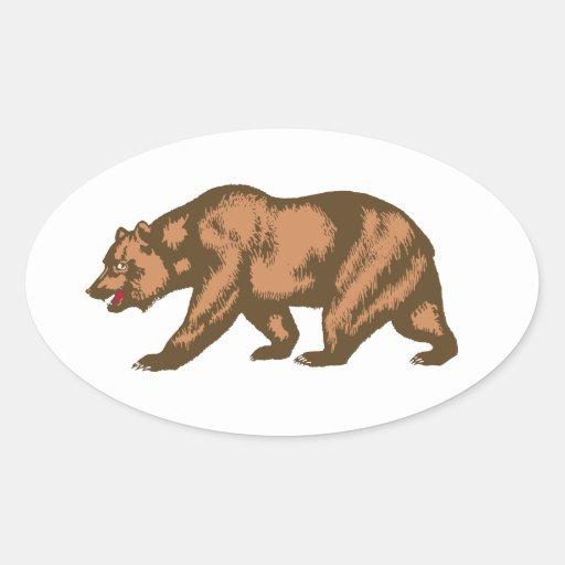 California Bear Oval Sticker
