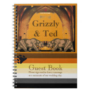 California Bears Wedding Guestbook for Gay Grooms Spiral Notebook