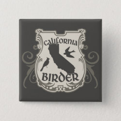 Square Button with California Birder design