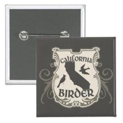 Square Button with California Birder design