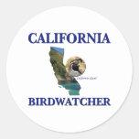 California Birdwatcher Etiqueta Redonda