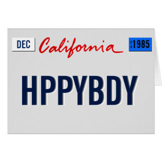 California Birthday Plate Personalize Card