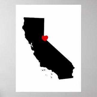 California blanco y negro con el corazón rojo póster