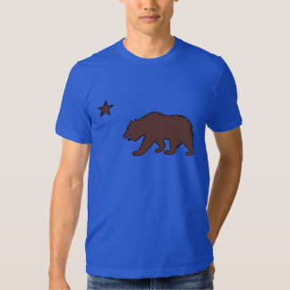 California blue brown bear flag symbol guys tee