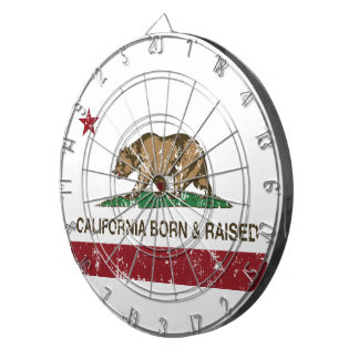 California Born and Raised Distressed Dartboard With Darts