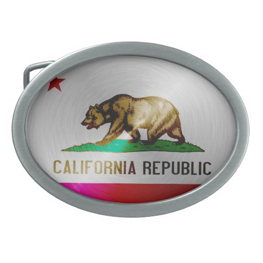 California brushed metal flag belt buckles