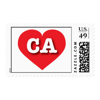 California CA red heart Postage Stamps