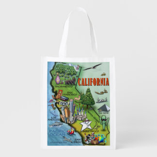 California Cartoon Map Grocery Bag