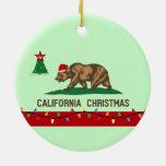 California Christmas Flag Round Ornament