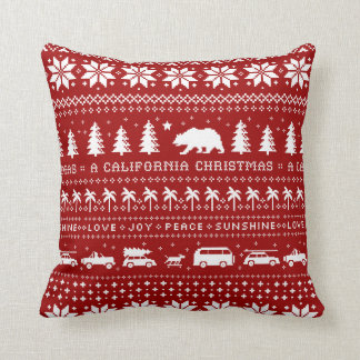 California Christmas Holiday Pattern White on Red Throw Pillow