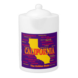 California Cities And Towns State Pride Map Teapot