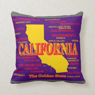 California Cities And Towns State Pride Map Throw Pillow