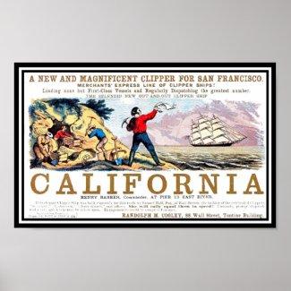 California Clipper gold rush Vintage Print Print