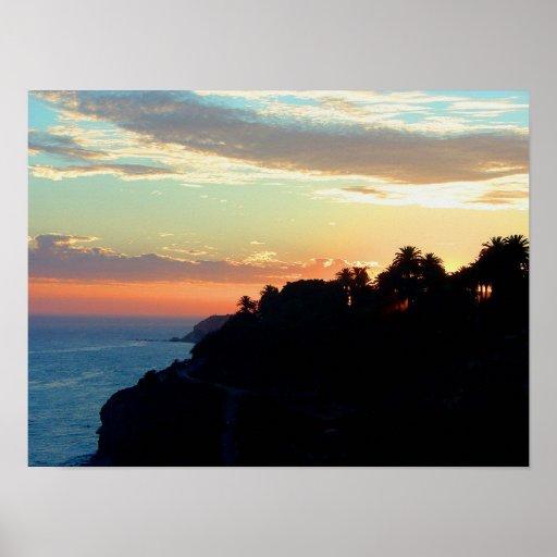 California Coast at Sunset San Pedro Royal Palms Print