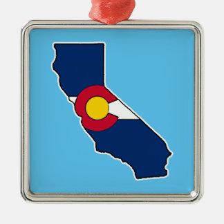 California Colorado flag square holiday ornament