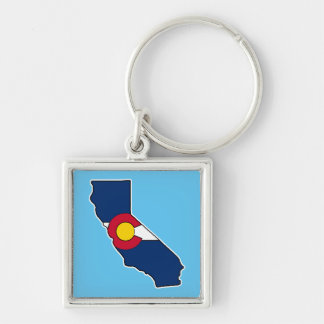 California Colorado flag square metal keychain