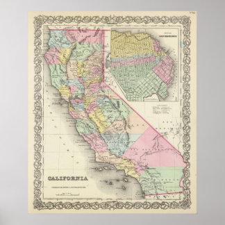 California con la ciudad de San Francisco Posters