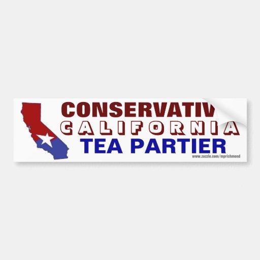 California Conservative Tea Partier Car Bumper Sticker