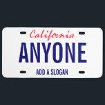 "California Custom License Plate<br><div class=""desc"">California Custom License Plate</div>"