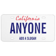 California Custom License Plate at Zazzle