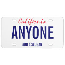 California Custom License Plate