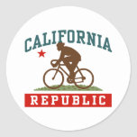 California Cycling Male Round Stickers