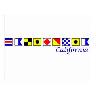 California deletreó con alfabeto náutico de la ban tarjetas postales